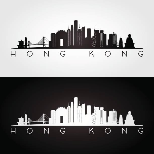 illustrazioni stock, clip art, cartoni animati e icone di tendenza di hong kong skyline and landmarks silhouette, black and white design, vector illustration. - hong kong