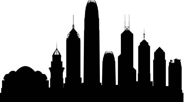 illustrazioni stock, clip art, cartoni animati e icone di tendenza di hong kong skyline (all buildings are complete and moveable) - hong kong