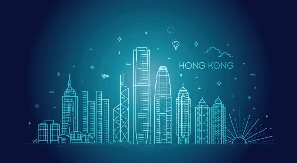 illustrazioni stock, clip art, cartoni animati e icone di tendenza di hong kong skyline, vector illustration in linear style - hong kong