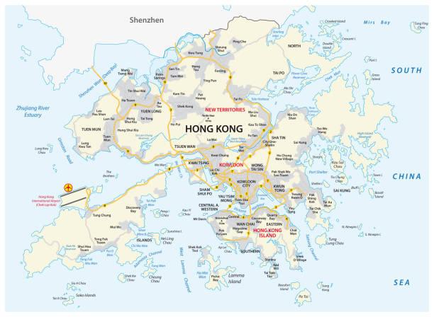 illustrazioni stock, clip art, cartoni animati e icone di tendenza di hong kong special administrative region of the people s republic of china road map - hong kong