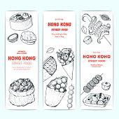 Hong kong street food banner collection. Chinese food menu design template. Vintage hand drawn sketch, vector illustration. Engraved style illustration. Asian street food sketch