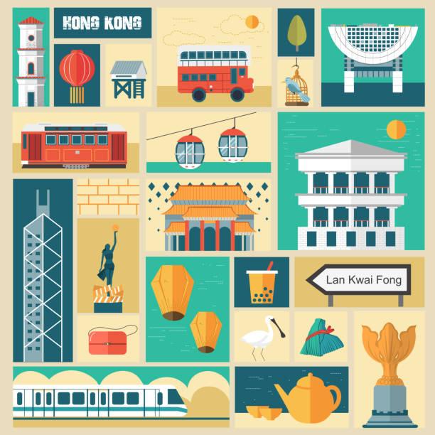 illustrazioni stock, clip art, cartoni animati e icone di tendenza di le attrazioni di hong kong - hong kong