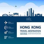 Hong Kong travel destination grand vector illustration.