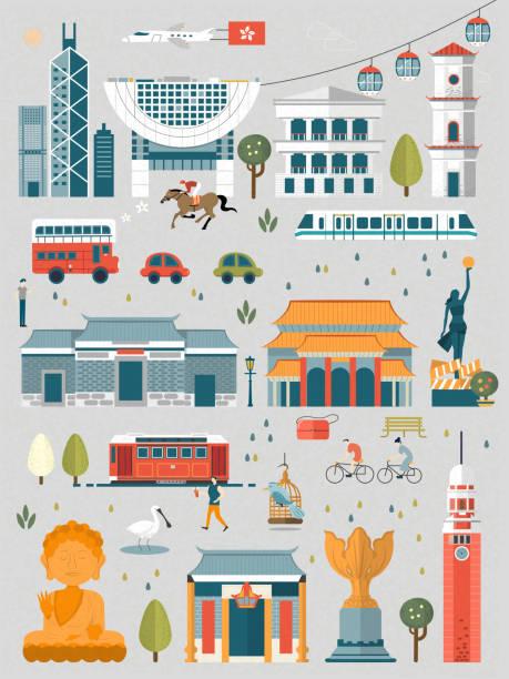 illustrazioni stock, clip art, cartoni animati e icone di tendenza di elementi di hong kong - hong kong