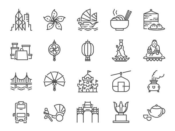 illustrazioni stock, clip art, cartoni animati e icone di tendenza di hong kong travel icon set. included the icons as city, barque, tian tan big buddha , guan yin statue, cable car, dim sum, landmarks, attractions and more - hong kong