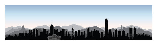 Hong-Kong city skyline with tourist attraction buildings and skyscrapers. Travel Chinese Asia background vector art illustration