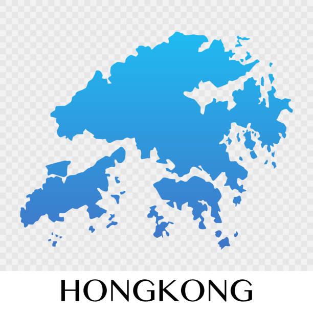 illustrazioni stock, clip art, cartoni animati e icone di tendenza di hongkong map in asia continent illustration design - hong kong