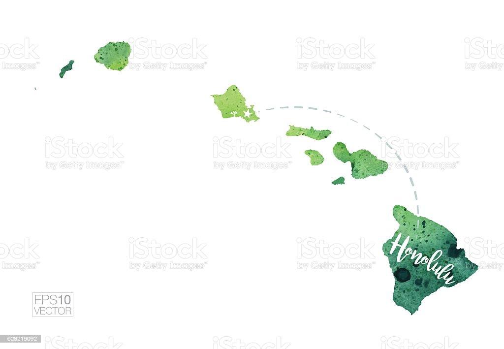 Honolulu, Hawaii USA Vector Watercolor Map vector art illustration