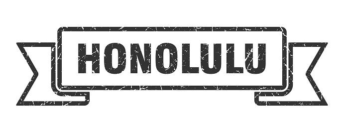 Honolulu ribbon. Black Honolulu grunge band sign