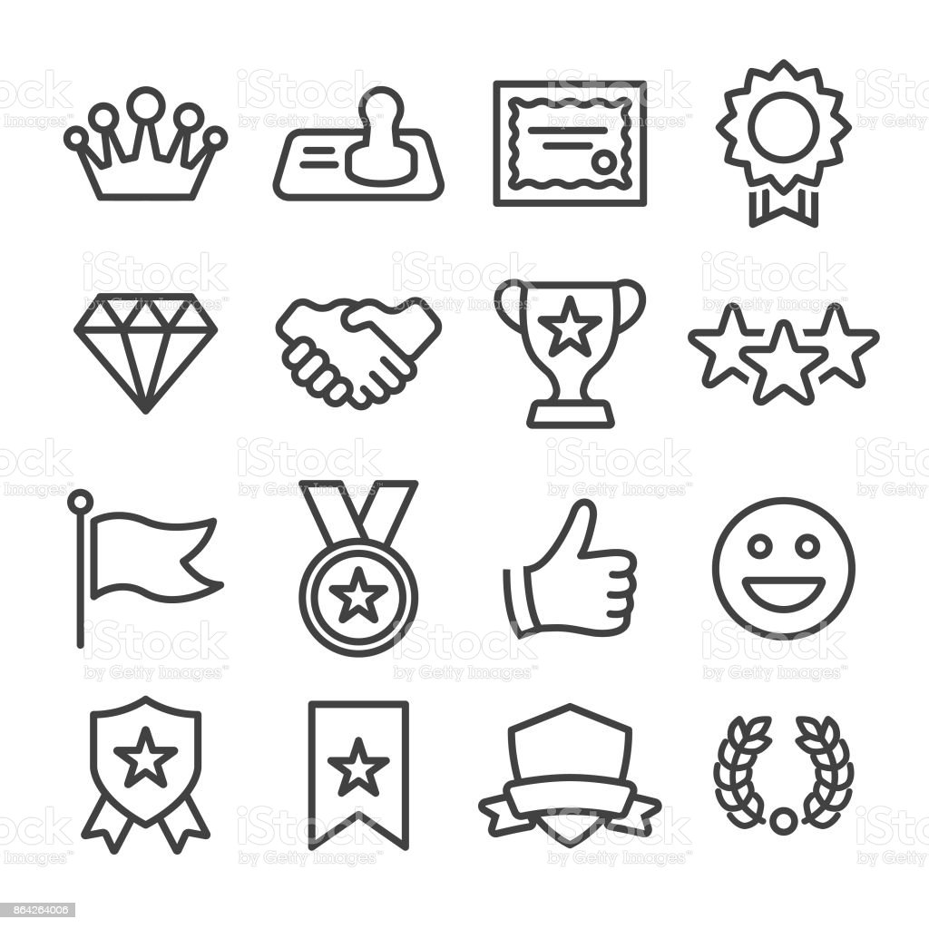 Honor and Success Icons - Line Series vector art illustration