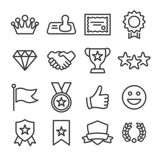 Honor and Success Icons - Line Series Award, Honor, Success, Achievement incentive stock illustrations