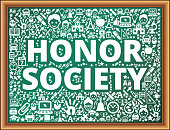 Honor Society School and Education Vector Icons on Chalkboard