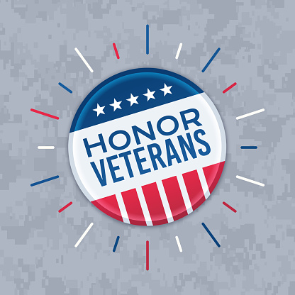 Honor Veterans Button Pin