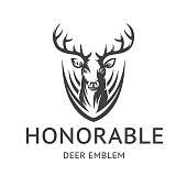 Honorable Deer emblem, illustration - head of a stag with horns, on a with background.