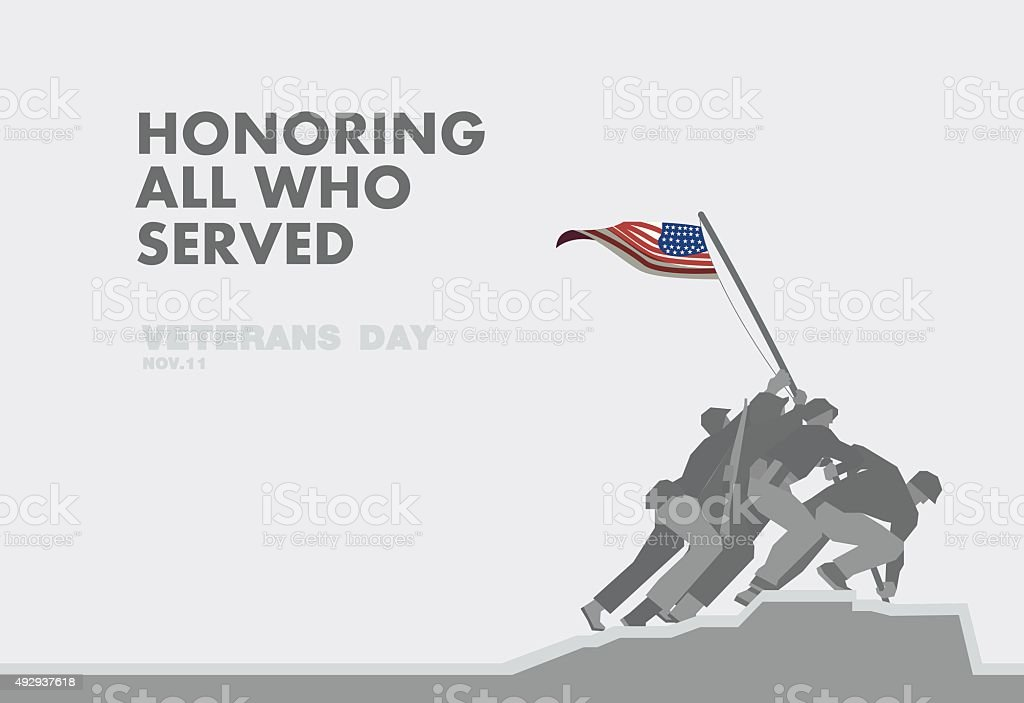 Honors Veterans day,the monument and flag flat theme design vector art illustration
