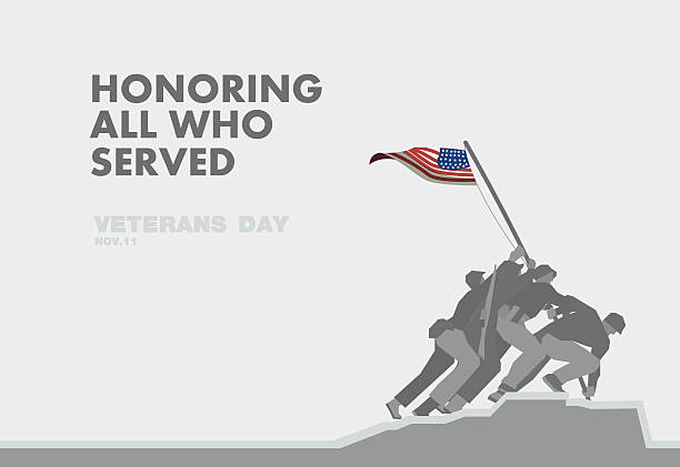 Honors Veterans day,the monument and flag flat theme design Honors Veterans day,the monument and flag flat theme design art saluting stock illustrations
