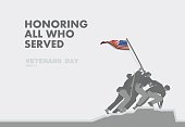 Honors Veterans day,the monument and flag flat theme design