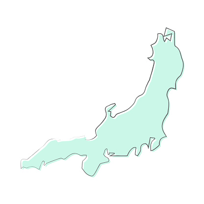 Honshu map hand drawn on white background - Trendy design