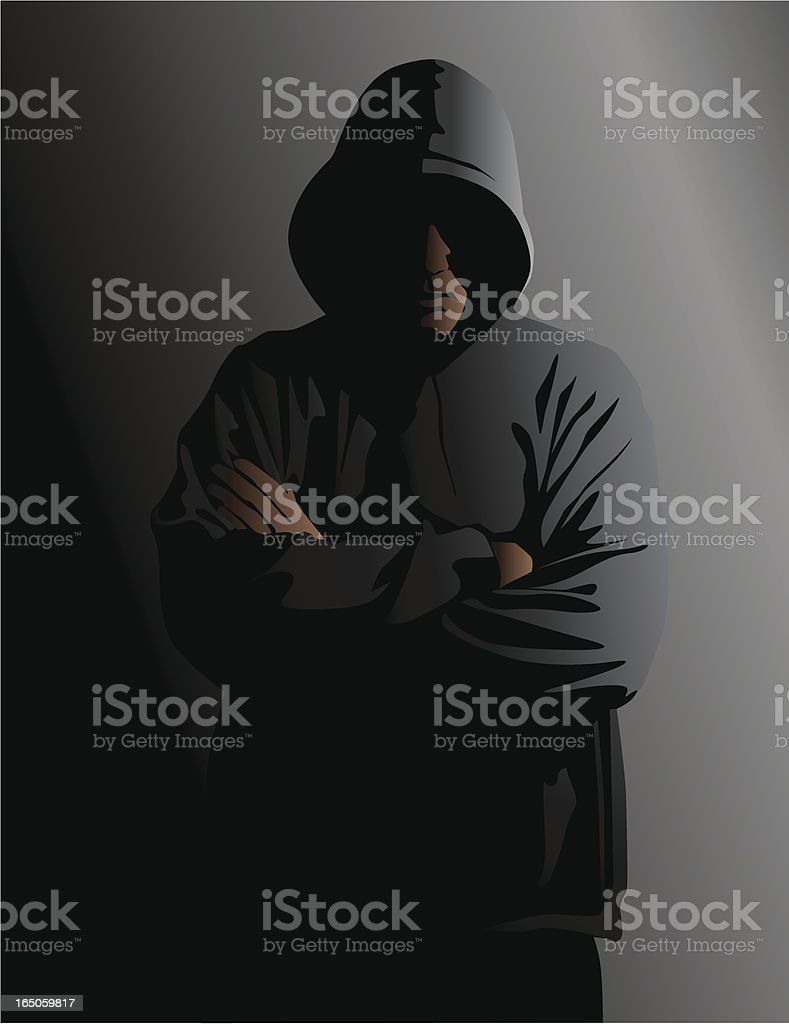 Hooded Man in the Shadows vector art illustration