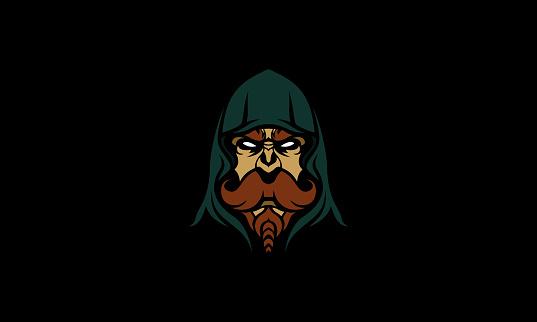 Hooded Old Man Mascot Vector Illustration