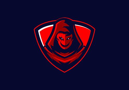 hooded red sinister mask gaming mascot badge vector illustration