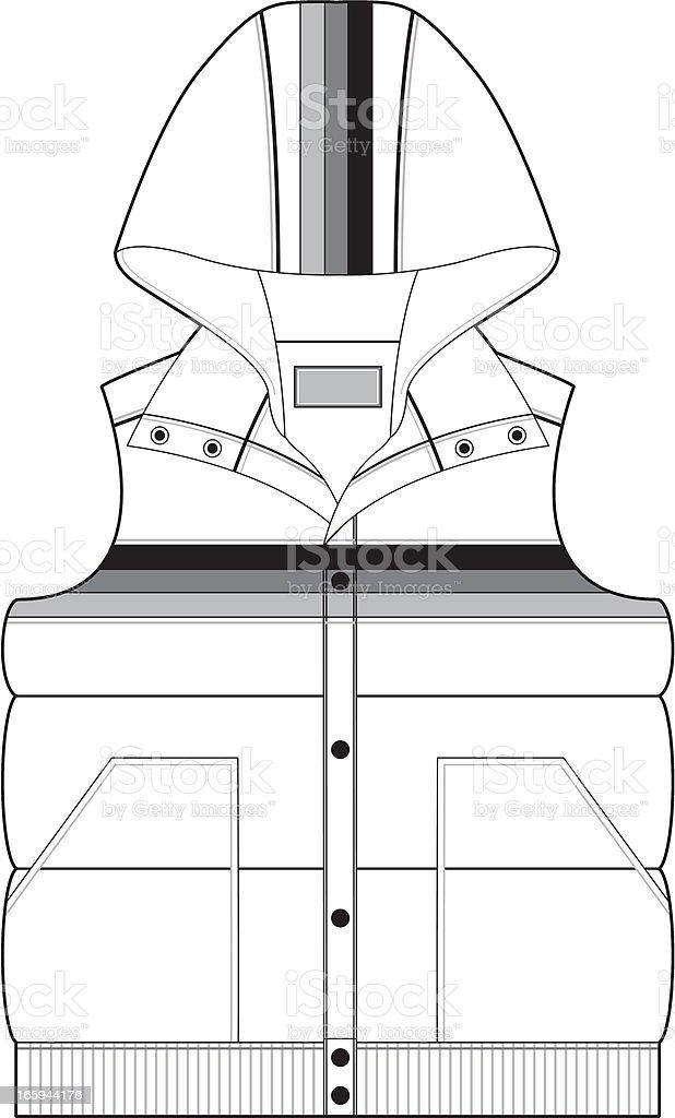 Hooded Sleeveless Gilet Jacket royalty-free stock vector art