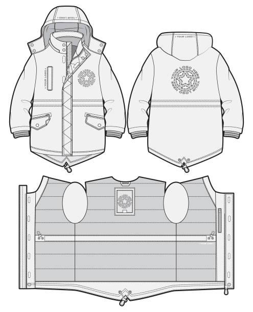 parka mit kapuze sport mit reißverschluss und taschen - parkas stock-grafiken, -clipart, -cartoons und -symbole