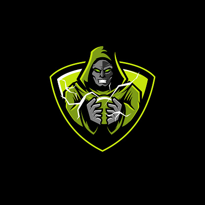 hooded wizard mascot icon shield with lightning magic