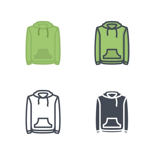 illustrations, cliparts, dessins animés et icônes de hoodie vêtements icône vecteur ligne colorée plat silhouette - homme slip