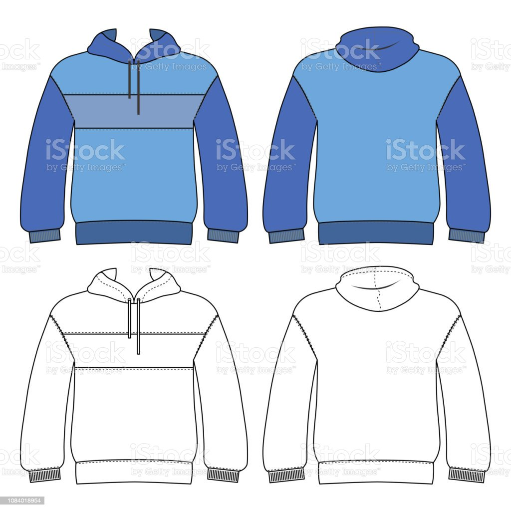 Hoodie man template (front, back views) vector art illustration