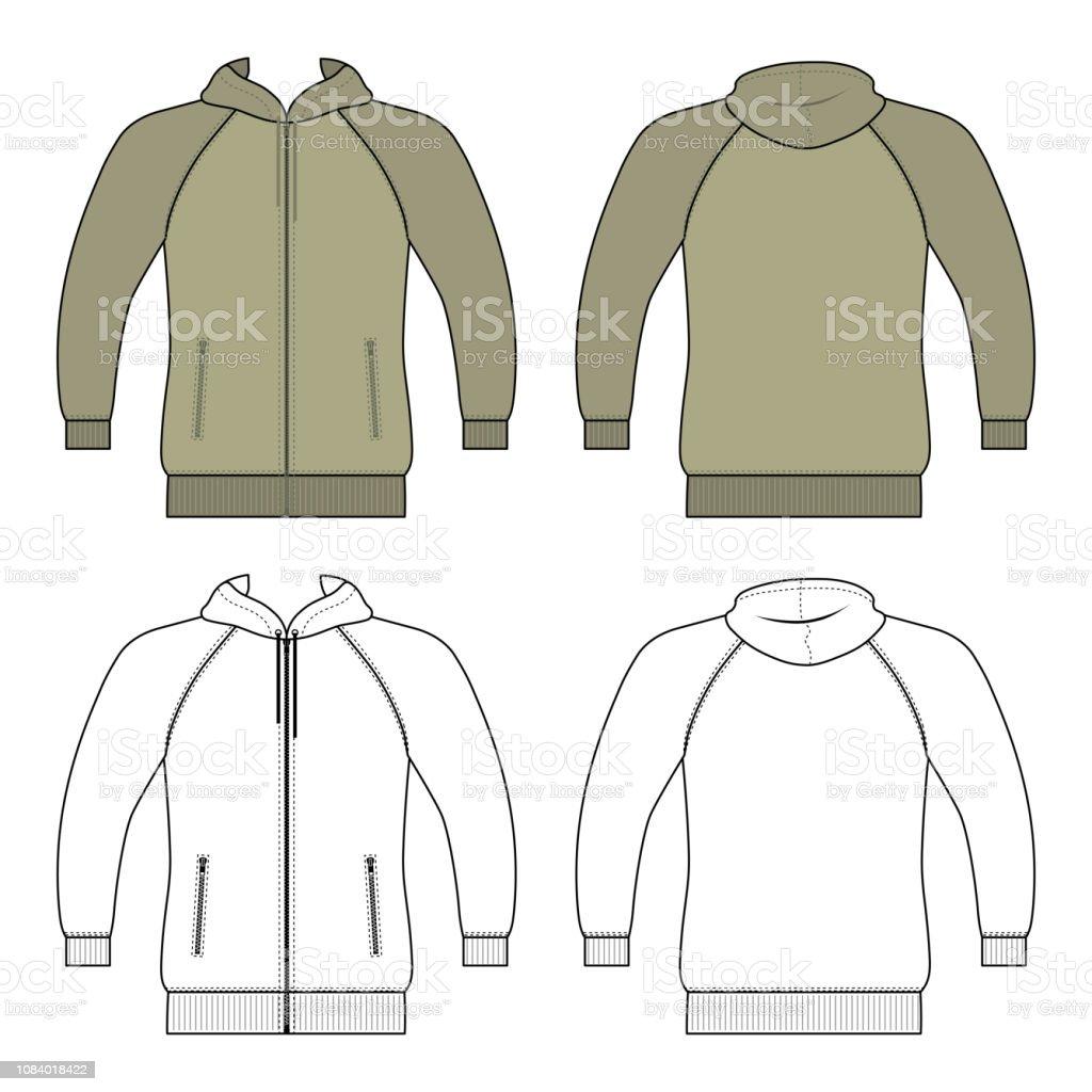 Hoodie zip fastener man template (front, back views) vector art illustration