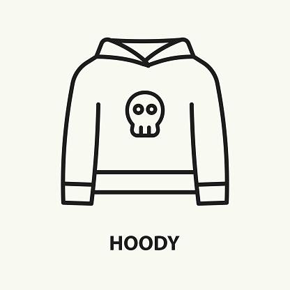 Hoody flat line icon. Vector illustration.