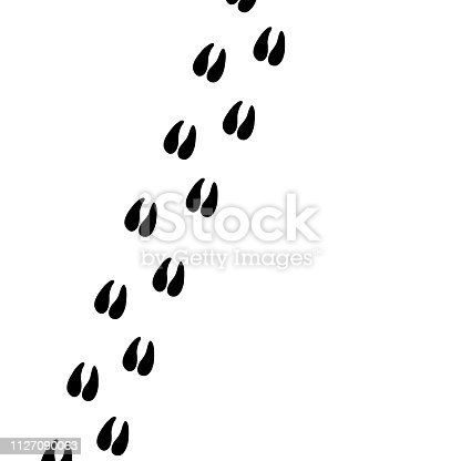Hoof (paw) prints. Pig (deer, goat, cow, sheep) hoof prints. Animal paw prints. Vector illustration.