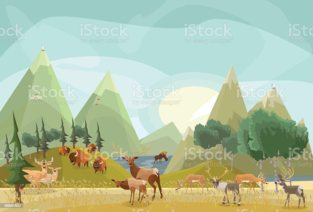 Hoofed Mammals of North America vector art illustration