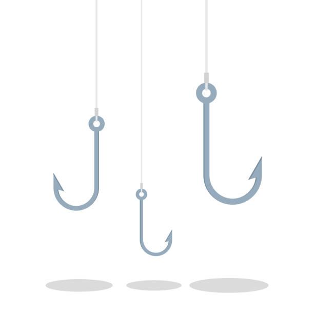 haken zum angeln. tackle zum angeln, angelhaken - angelhaken stock-grafiken, -clipart, -cartoons und -symbole