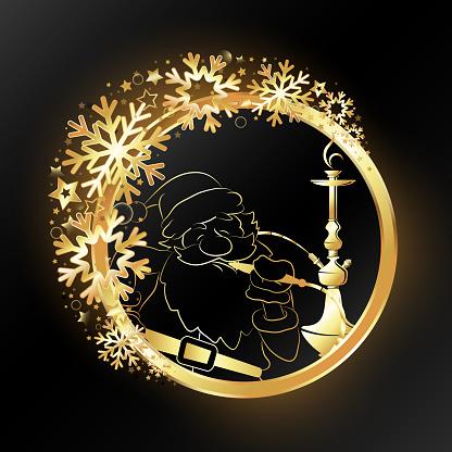 Hookah and Santa in a golden circle and snowflakes