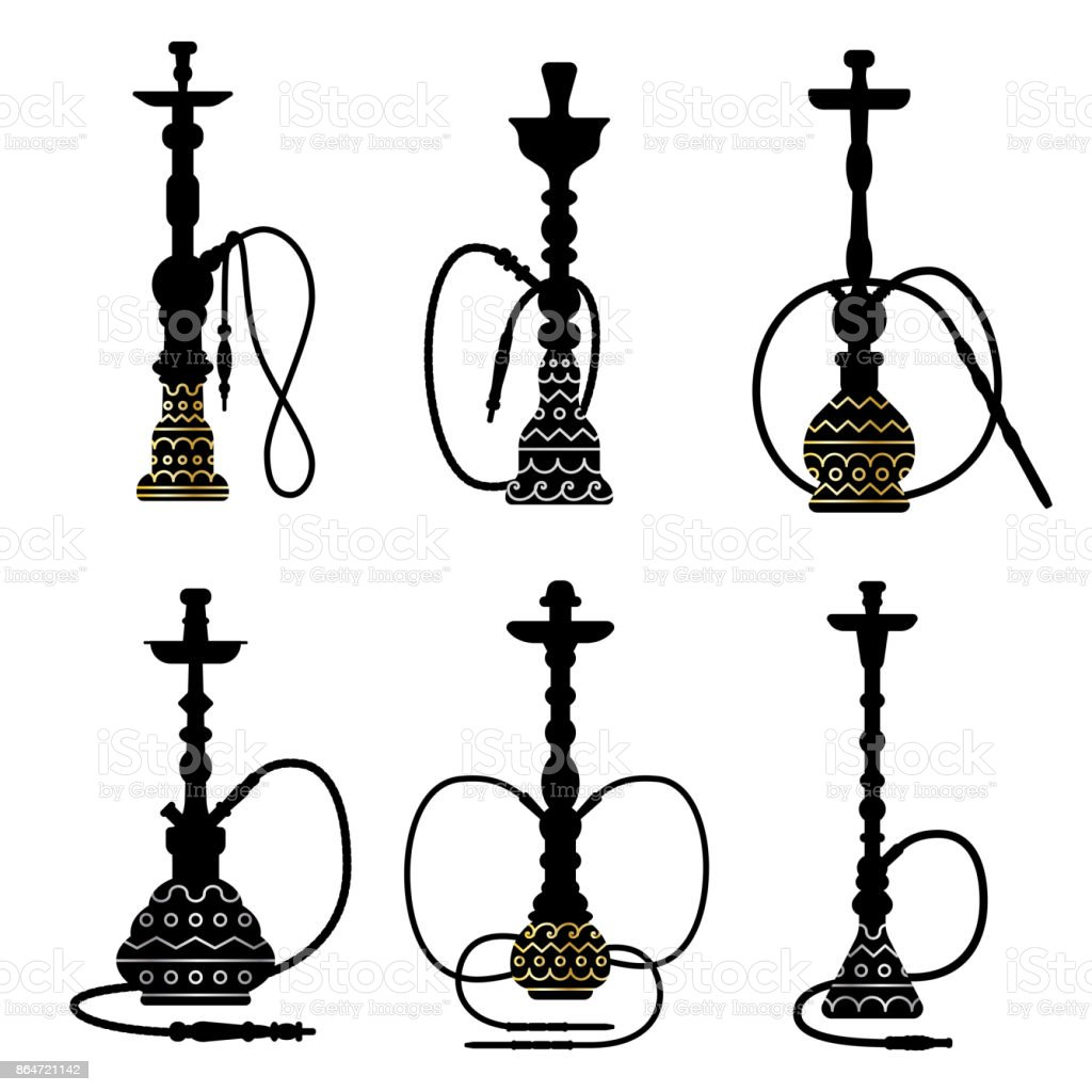 hookah collection black and white s vector silhouette with gold and rh istockphoto com hookah logo vector hookah vector illustration