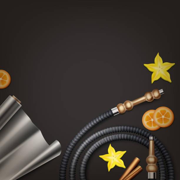 hookah flat lay - aluminum foil roll stock illustrations, clip art, cartoons, & icons