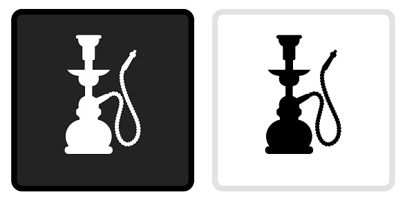 Hookah Icon on  Black Button with White Rollover