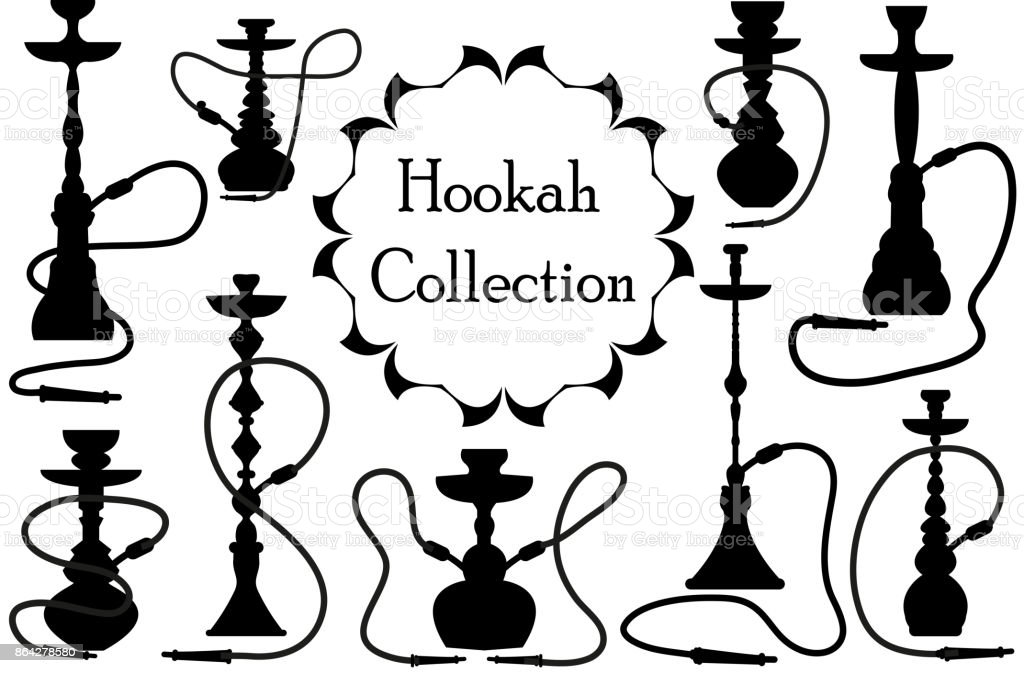 Hookah icon set black silhouette, outline style. Arabic hookahs collection of design elements, logo. Isolated on white background. Lounge bar logos concept. Vector illustration. royalty-free hookah icon set black silhouette outline style arabic hookahs collection of design elements logo isolated on white background lounge bar logos concept vector illustration stock vector art & more images of arabia