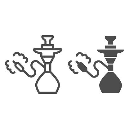Hookah line and solid icon, Smoking concept, Shisha with smoking pipe sign on white background, silhouette of a hookah icon in outline style for mobile concept and web design. Vector graphics.