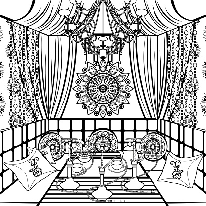 Hookah room ornate decorated in oriental style, black and white drawing, vector contour linear illustration, coloring, sketch, monochrome picture.