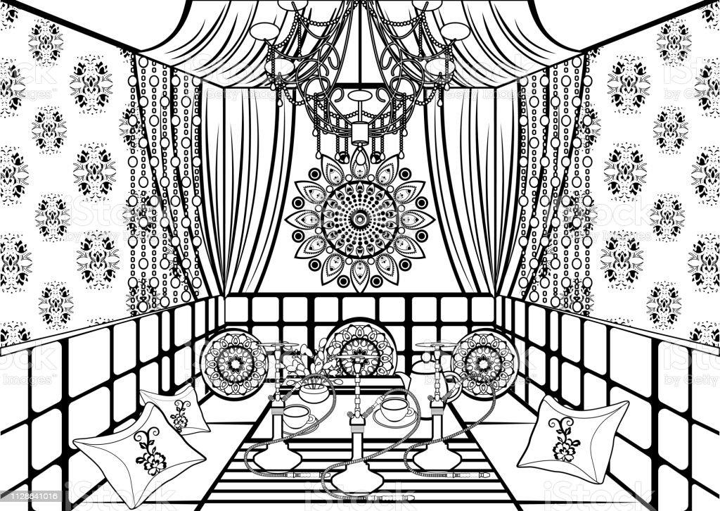 Chambre De Narguilé Orné Décorée Dans Un Style Oriental Noir ...