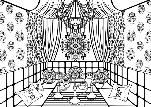 Hookah room ornate decorated in oriental style, black and white drawing, vector contour linear illustration, coloring, sketch, monochrome picture. Rich interior decorated patterns