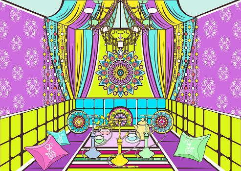 Hookah room ornate decorated in oriental style, cartoon drawing, vector illustration. Bright colorful room with sofa with pillows, decorated patterns and ornaments, table with hookah