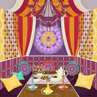 Hookah room ornate decorated in oriental style, flat drawing, vector illustration. Bright multicolor room with sofa with pillows, decorated patterns and ornaments, table with hookah