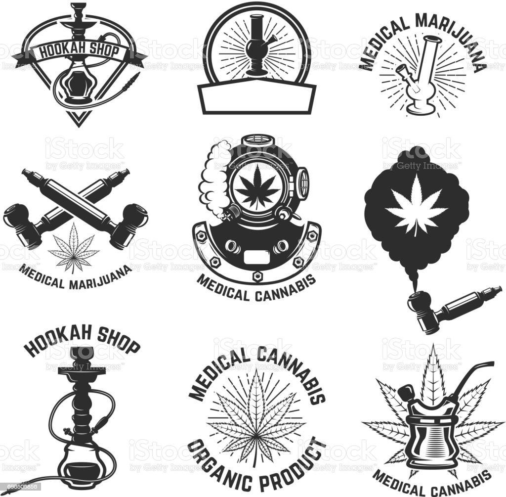Hookah shop. Cannabis. Images for label, emblem, sign, poster. Vector illustration. vector art illustration