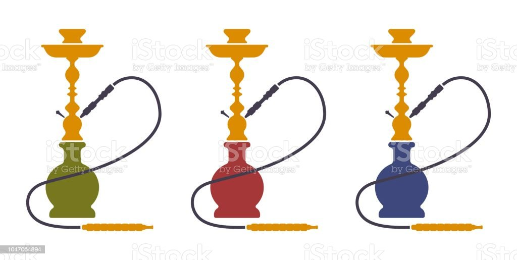Hookah Silhouette Icons Vector Isolated Nargile Hubbly Bubbly Shisha