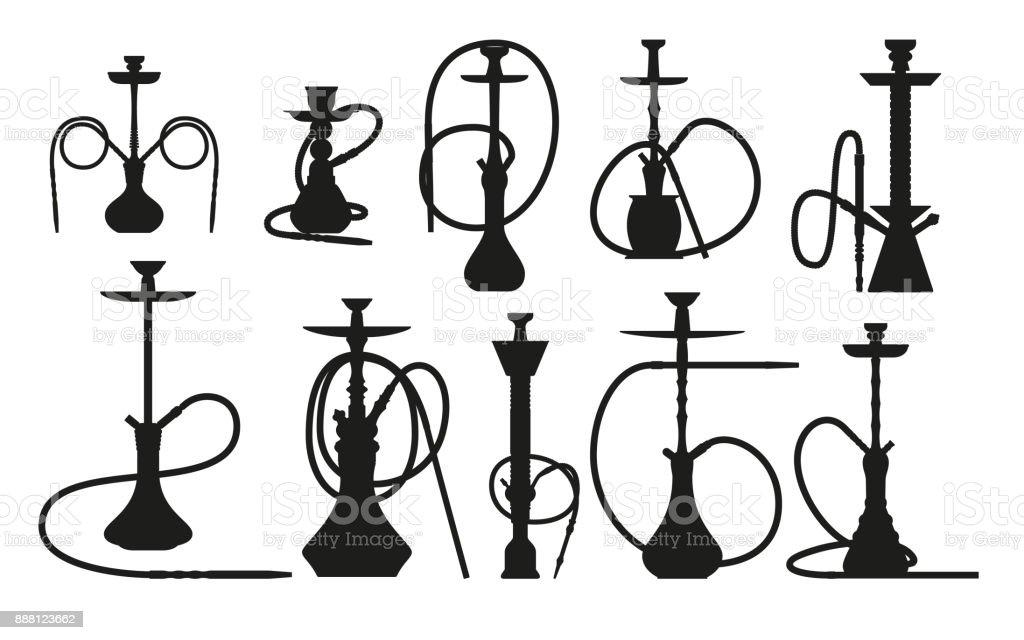 Ilustración de Silueta De Cachimba Fija Con Pipa Para Fumar Tabaco Y ...