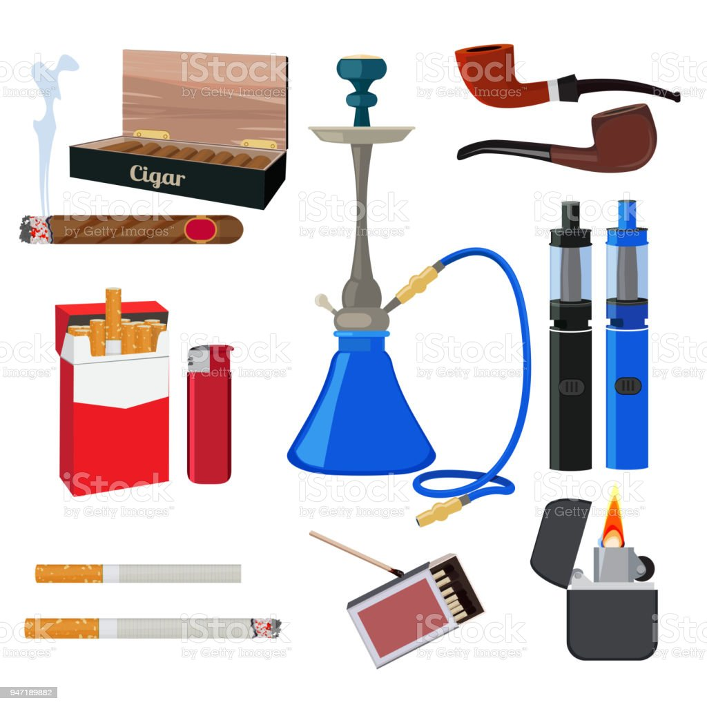 Ilustración de Cachimba Tabaco Cigarrillo Y Otras Herramientas ...